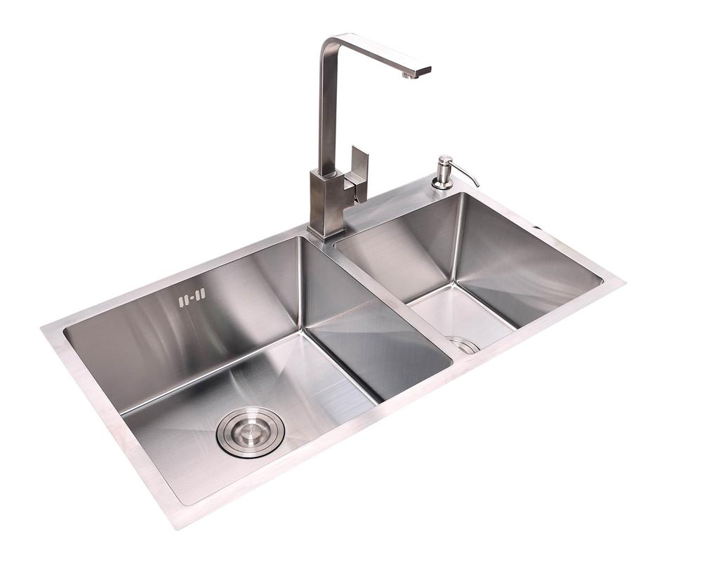 美诺仕内嵌式户外304不锈钢水槽双水槽+龙头