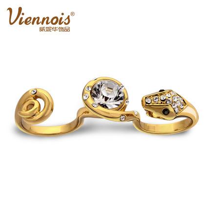 威妮华欧美饰品 双戒个性女士3指戒蛇型戒指 夸张配饰