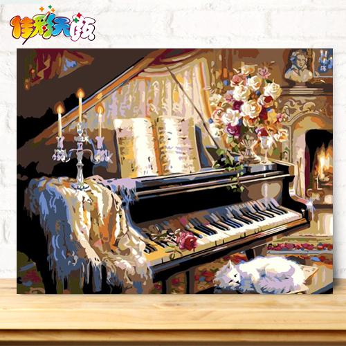 佳彩天颜diy油画大幅钢琴