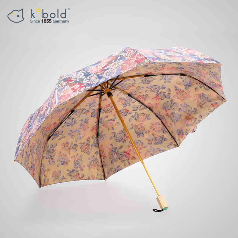 kobold酷波德太阳伞防晒防紫外线女三折遮阳伞太阳伞进口和服面料