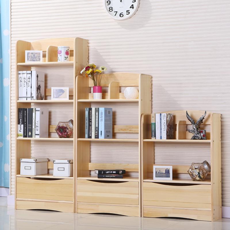 简易实木组合书架松木置物架多层书柜学生落地储物架儿童收纳书橱
