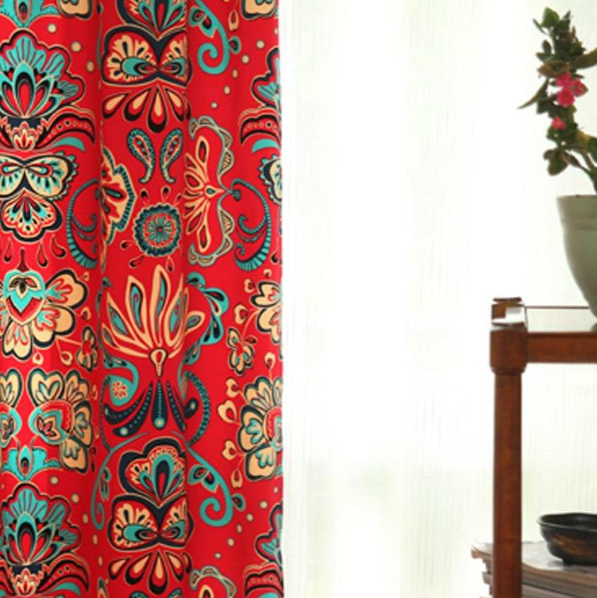 汉尚现代中式红色花落地窗h011049011035038