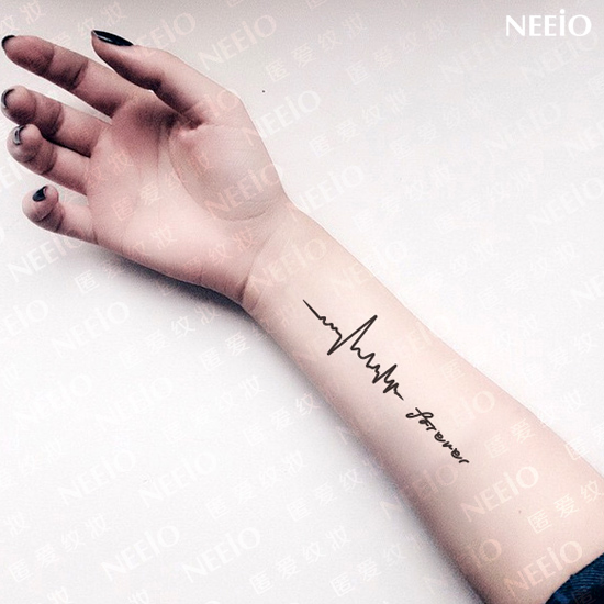 neeio tattoo intimate memories jump ecg heart rate symbol tattoo stickers waterproof. Black Bedroom Furniture Sets. Home Design Ideas
