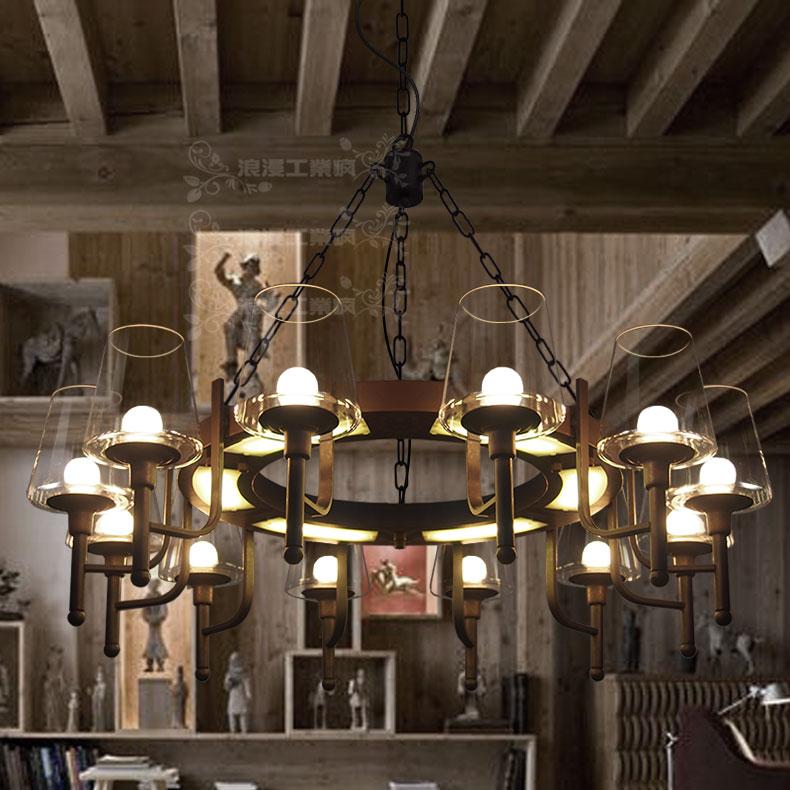 浪漫工业风灯美式复古创意个性客厅卧室酒吧餐厅?#19981;?#24418;玻璃杯吊灯