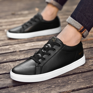 Men's shoes 2017 autumn tide new black men's casual shoes leather shoes all-match winter sports students.
