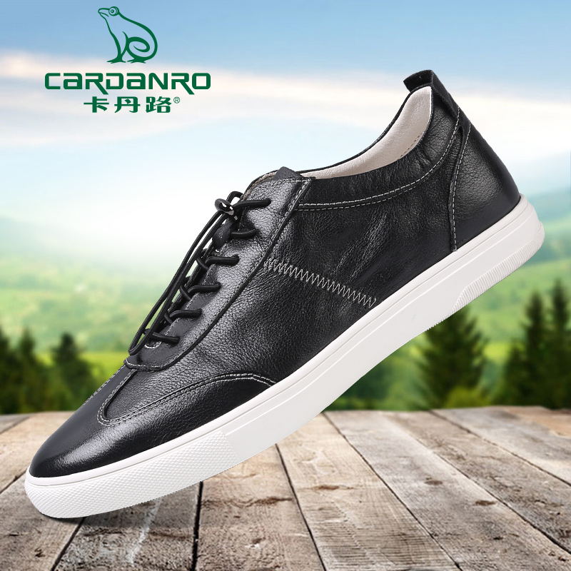 523679e60bda Cardan road leather shoes spring new men s Korean skateboarding shoes daily casual  shoes tide shoes white