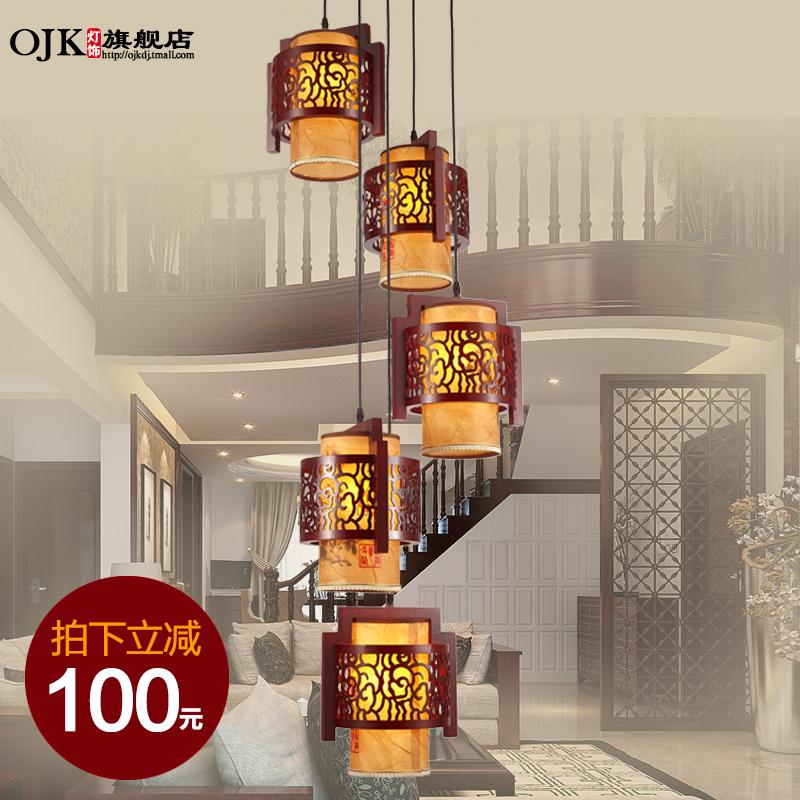 欧吉客现代中式实木长吊灯9901