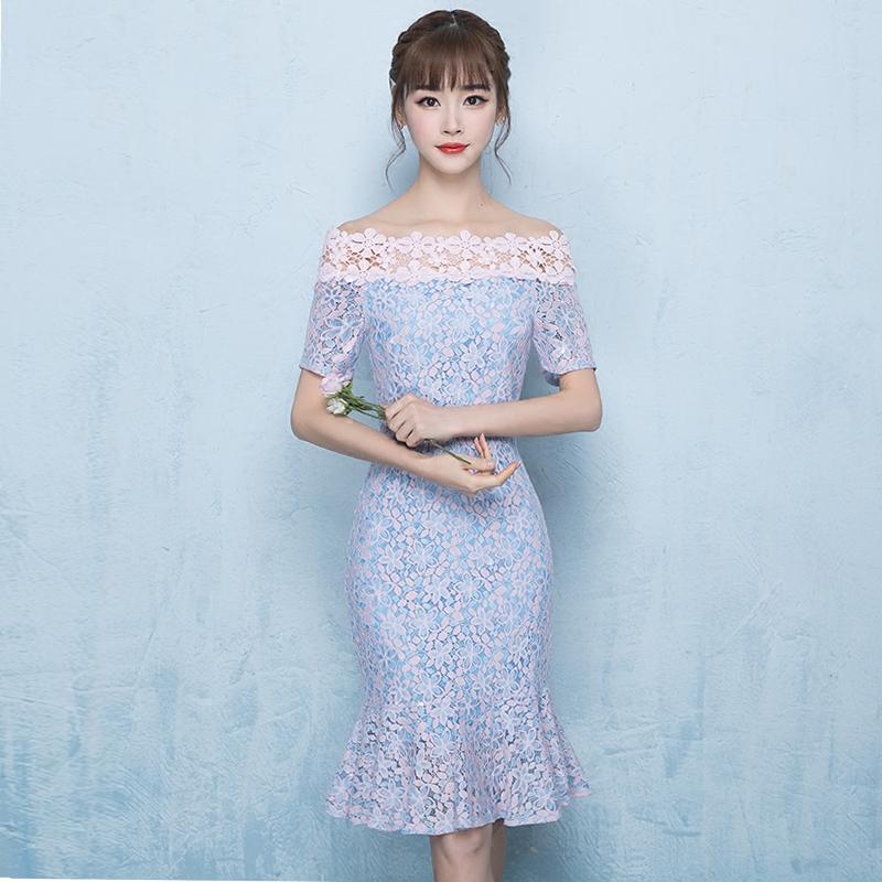 旗袍2017新款韩版时尚一字肩改良版清新少女日常鱼尾蕾
