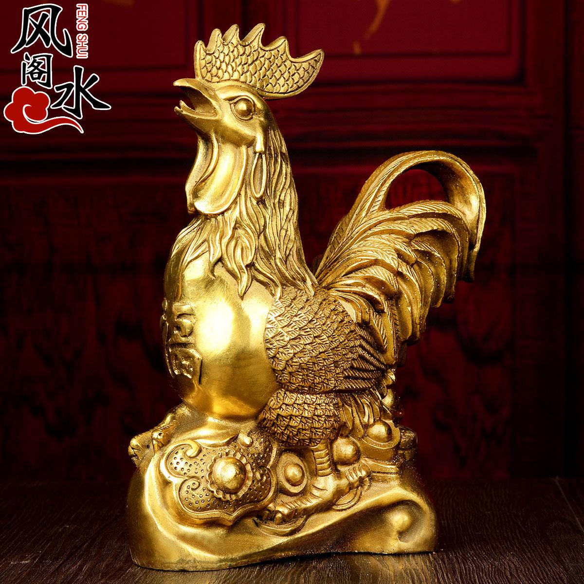 风水阁铜鸡铜如意公鸡摆件11262