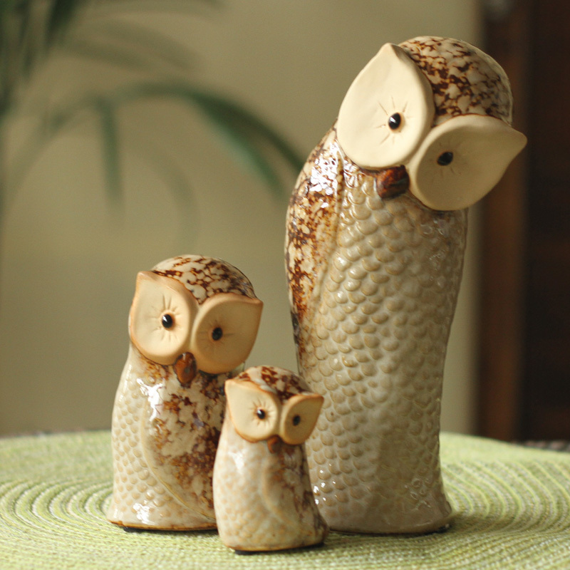 鸟与花家工艺品陶瓷摆件猫头鹰一家三口