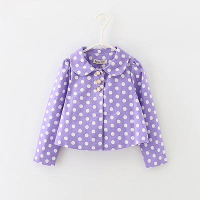 2015 autumn and winter new children's clothing baby sweet little polka dot dot short suit jacket