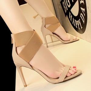 7026-9 European and American wind fashion sexy show thin club high heels for women's shoes with elastic rubber crossing