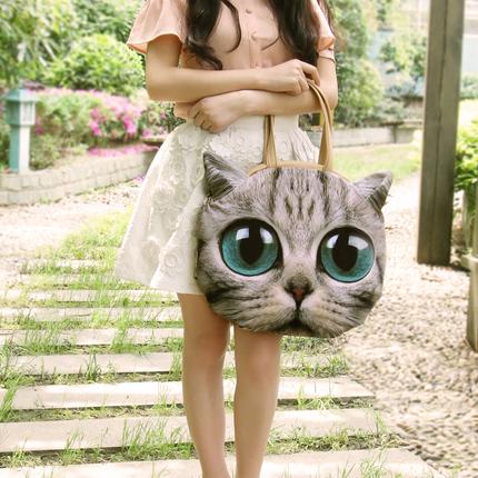可爱创意猫咪单肩包 女大包包原创休闲手提包女士大挎包猫头包袋