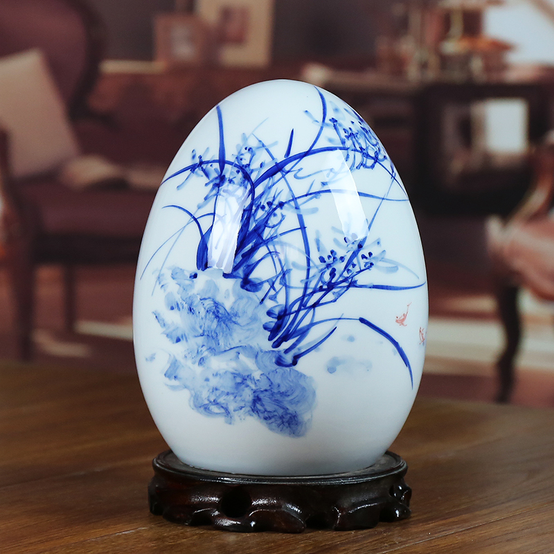 Modern jingdezhen blue and white porcelain ceramic vase orchid home sitting room place the egg handicraft gifts