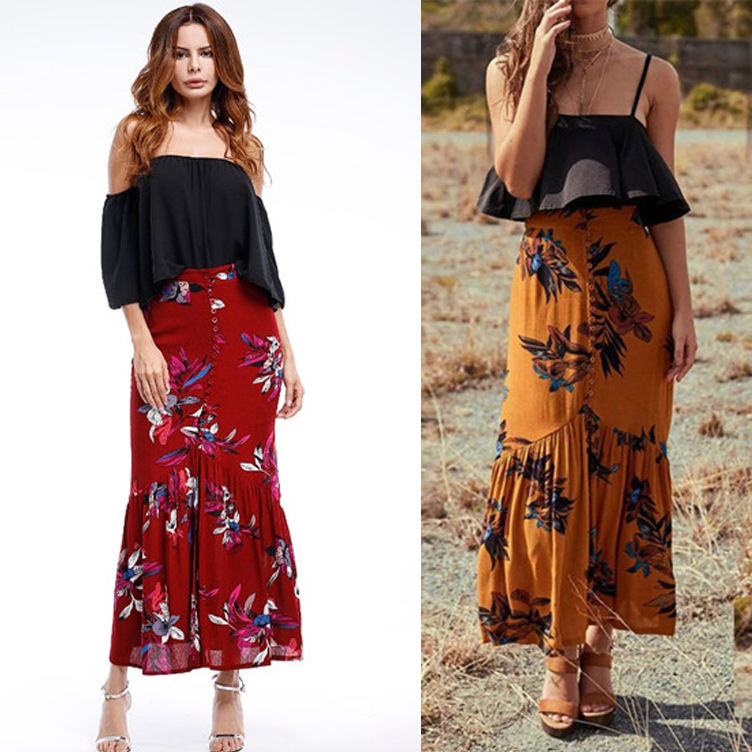 Summer new European and American hot sale Thailand holiday wind skirt Bohemian slim cotton and fishtail skirt