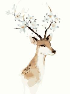 diy数字油画包邮特价 40*50 手绘客厅动物风景大幅装饰画 梅花鹿