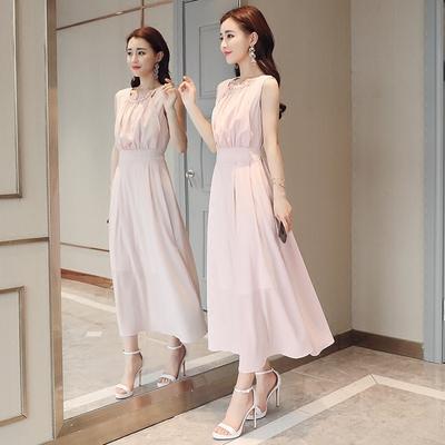 雪纺长裙女夏2018新款韩版修身气质系带收腰显瘦粉色无袖连衣裙女