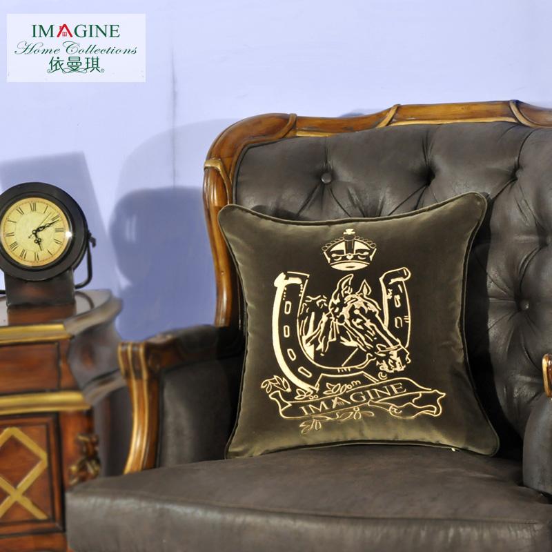 依曼琪美式古典系列沙发绣花靠垫套FZX-1002