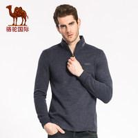骆驼秋季新款时尚都市青年长袖立领绣花纯色棉T恤上衣