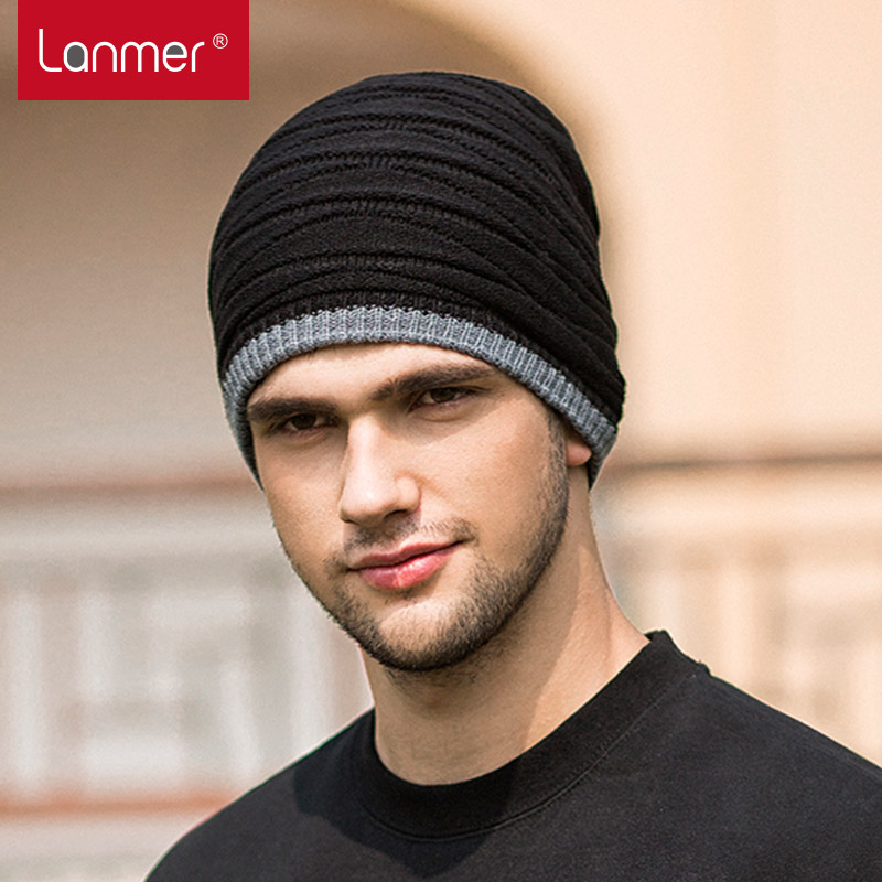 Lanmer men's thick warm wool winter Hat Cap men and Korean wave double knit hat with men and Cap