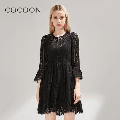 可可尼秋新品女装蕾丝气质两件套连衣裙26101A022062F