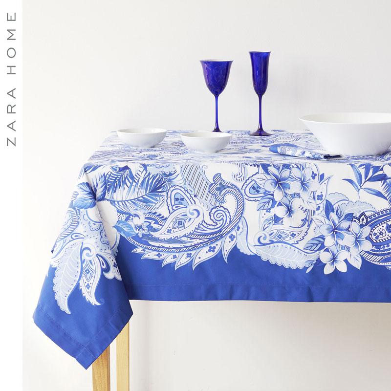 ZARA HOME蓝色数码印花桌布