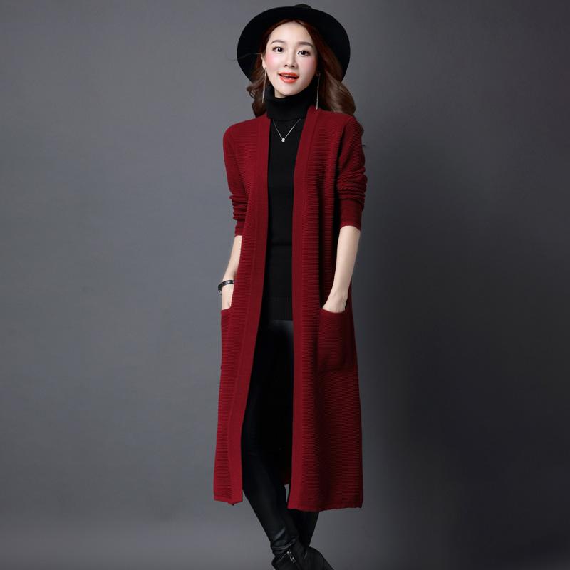 新款针织外搭开衫毛衣女宽松外搭春秋中长款过膝长衫披肩秋冬外套