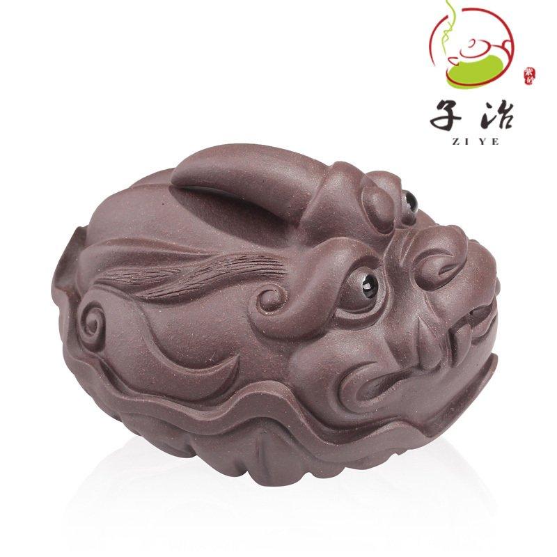 子冶尖角貔貅茶宠紫砂摆件