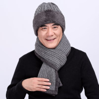 中老年帽子男士冬季针织毛线帽冬帽保暖爷爷老头帽加厚老人帽围巾