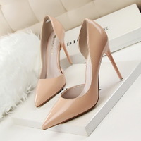 638-5 han edition fashion contracted with patent leather high heel shallow mouth pointed hollow out sexy show thin high-heeled shoes