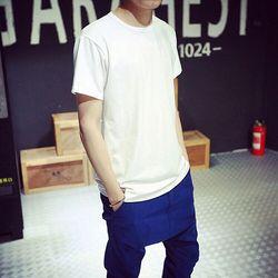 新款夏装简约素色纯色男士短袖T恤潮韩版男装棉质打底衫短袖男tee