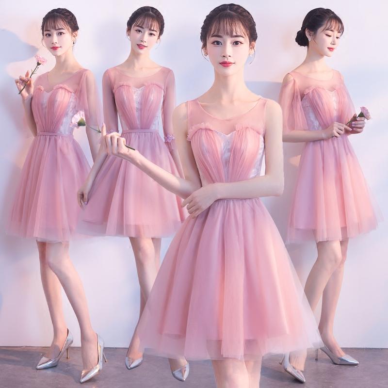伴娘服短款2018新款冬季韩版显瘦姐妹团婚礼伴娘礼服粉色晚礼服女