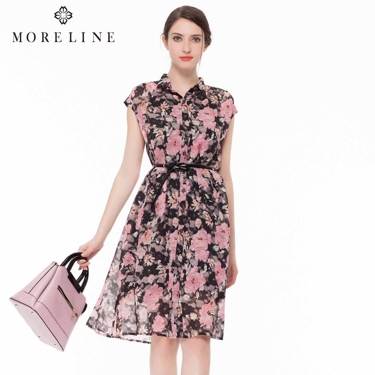 MORELINE沐兰夏季新款 时尚优雅印花无袖梭织真丝连衣裙女两件套