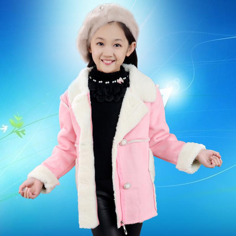 儿童新款韩版鹿皮棉衣女童休闲羊羔毛外套小女孩时尚加绒上衣童装
