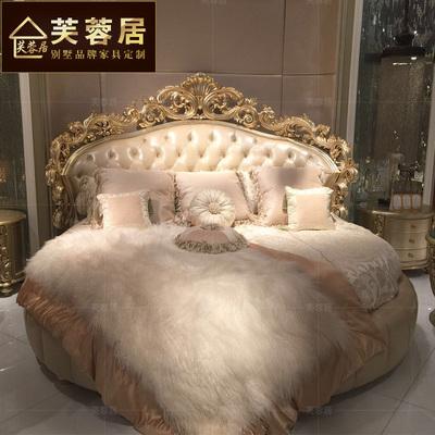 欧式圆床双人床奢华婚床主卧实木雕花床2米2.2大床法式新古典床