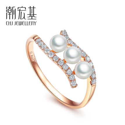 【立抵300元券!】潮宏基珠宝 若水 红18K珍珠戒指