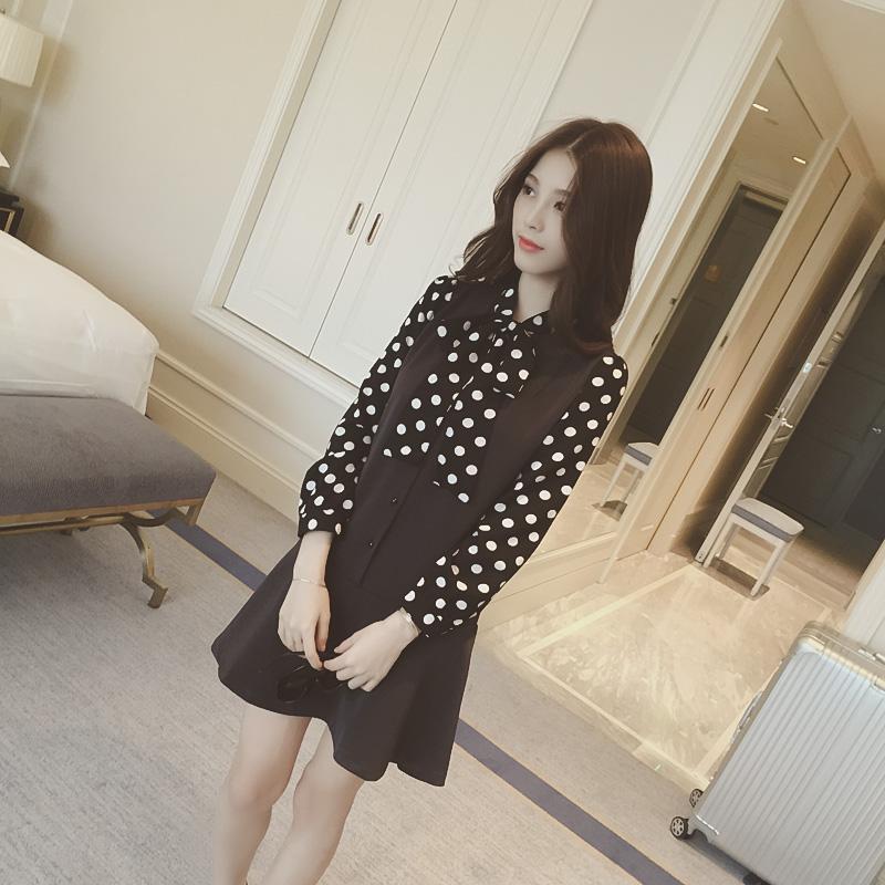 韩国新款可爱波点系带荷叶边裙摆连衣裙女
