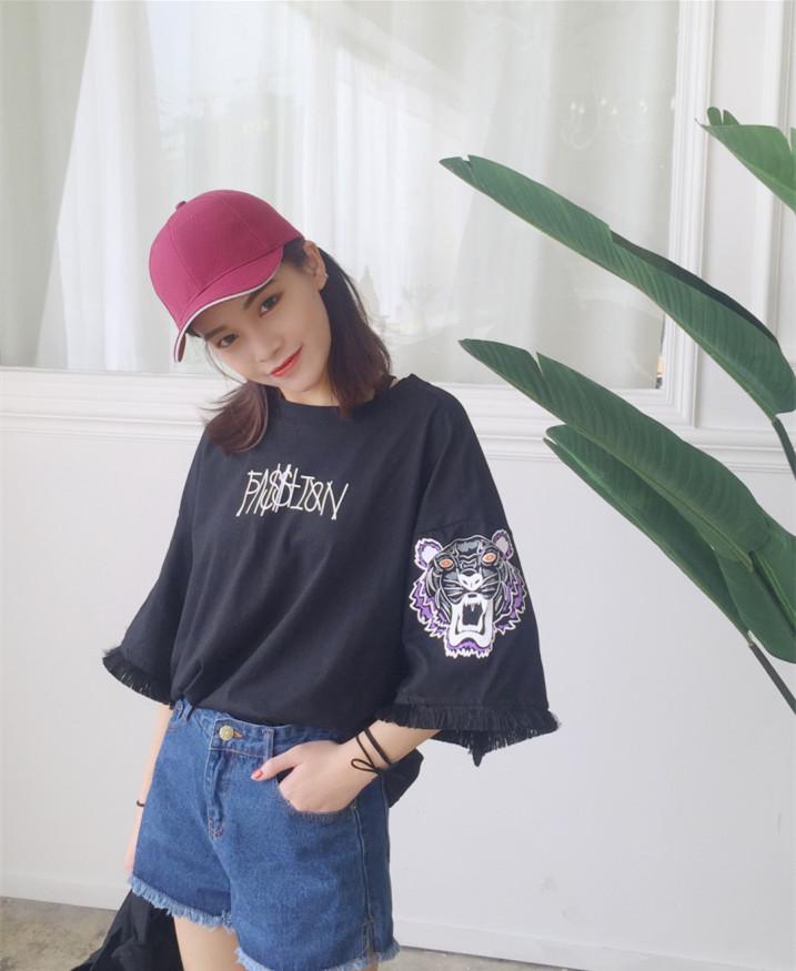 七分袖t恤女短袖大码宽松学生短款韩版女装夏新款潮