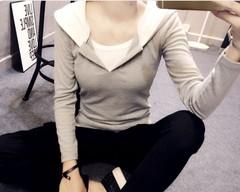 实拍韩国长袖套头t恤女纯棉带帽假两件学生外套秋季上衣