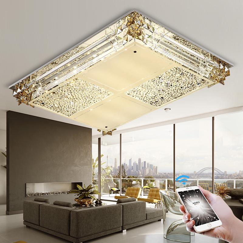 奥朵客厅水晶灯简约现代led吸顶灯长方形新灯具温馨大气卧室灯SR产品展示图5
