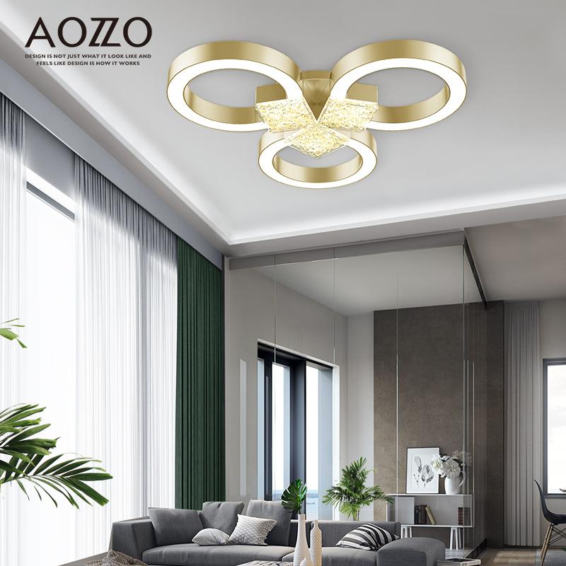 奥朵水晶客厅灯北欧圆形卧室led轻奢吸顶灯个性简约后现代灯具