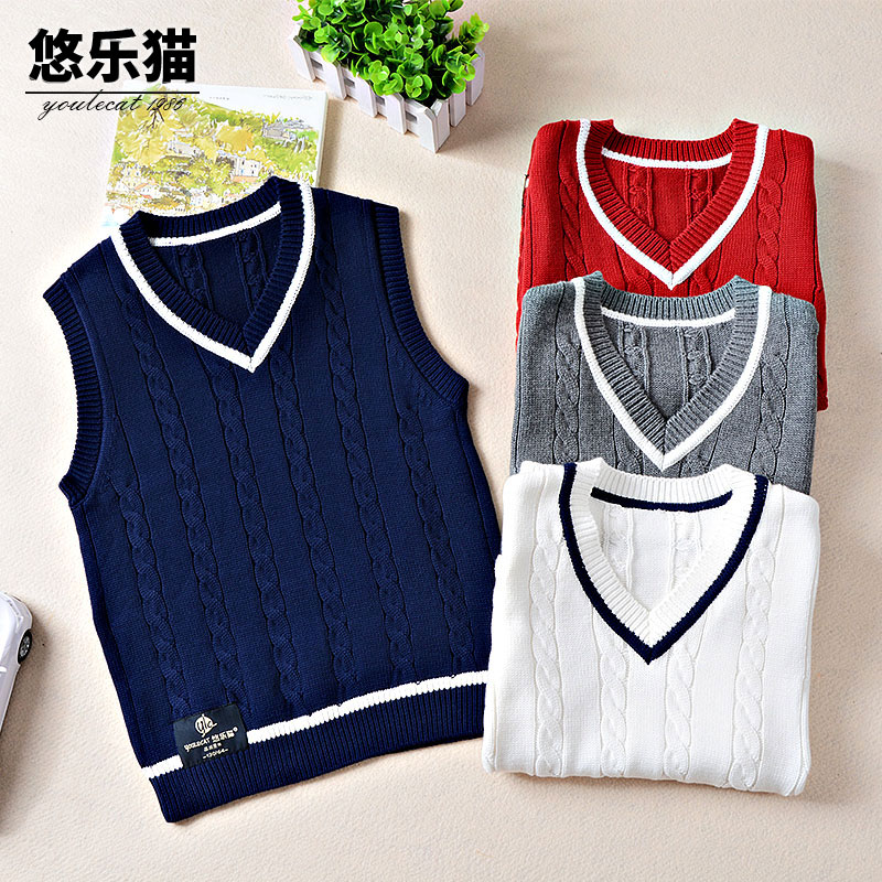 Boy children warm wool knit vest thick autumn and winter 2017 new big boy sweater vest waistcoat