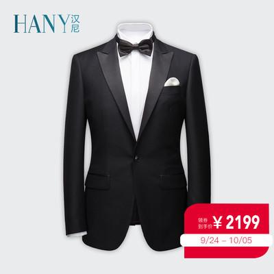 HANY西服套装男士修身羊毛西装英伦帅气结婚礼服黑色新郎宴会服装