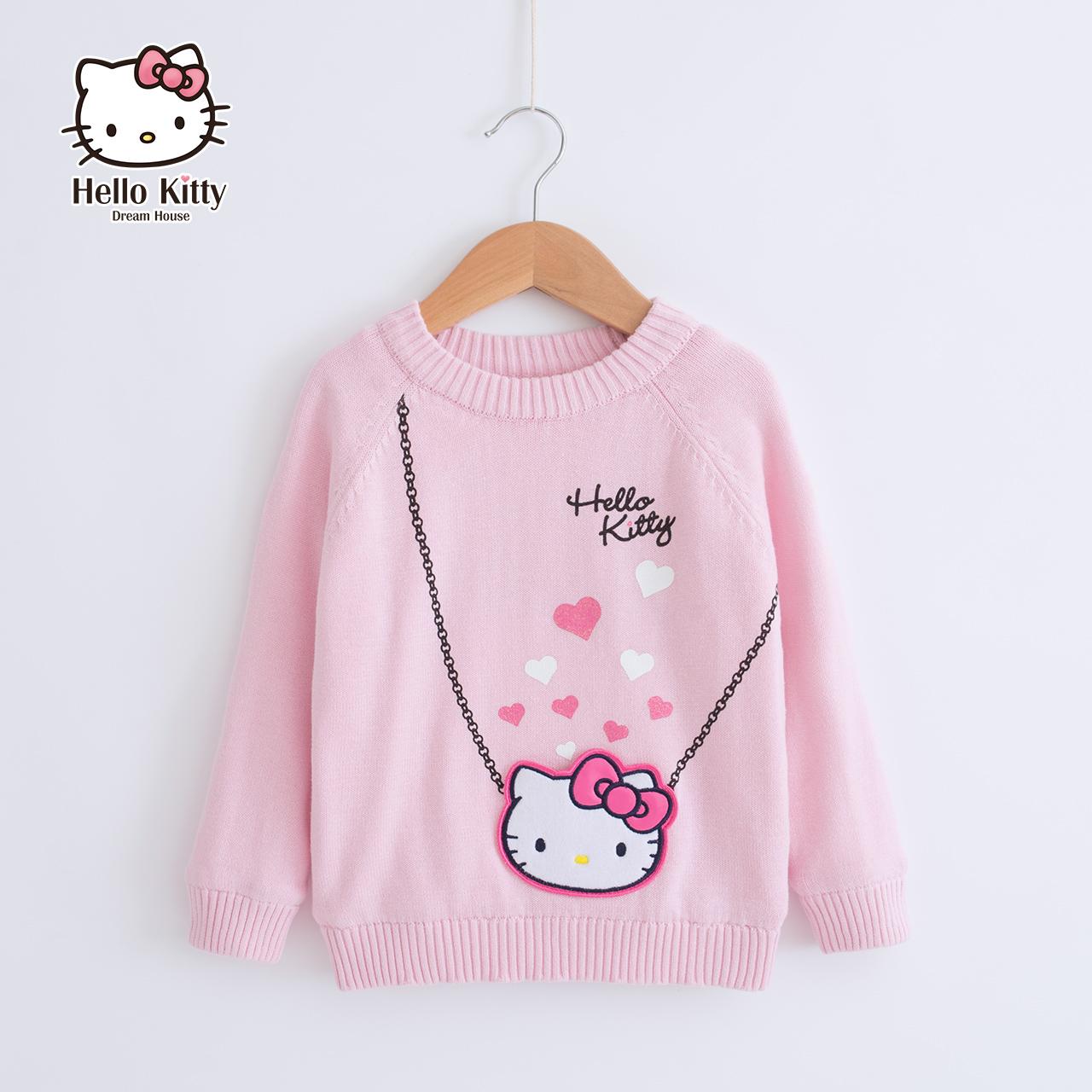 Hello kitty童装儿童2018秋冬新款韩版宝宝毛衣中大童套头针织衫