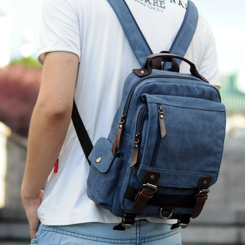 Korean version of the small shoulder bag Men's canvas backpack tide College student bag female shoulder Messenger bag leisure travel bag