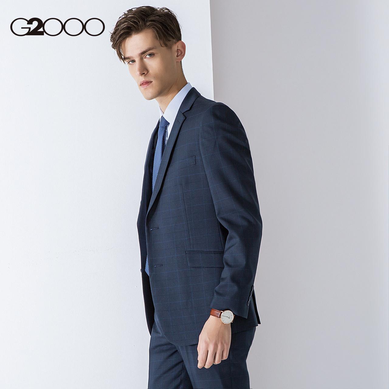 G2000格子休闲西装外套男 2018新款防静电商务修身西服上衣