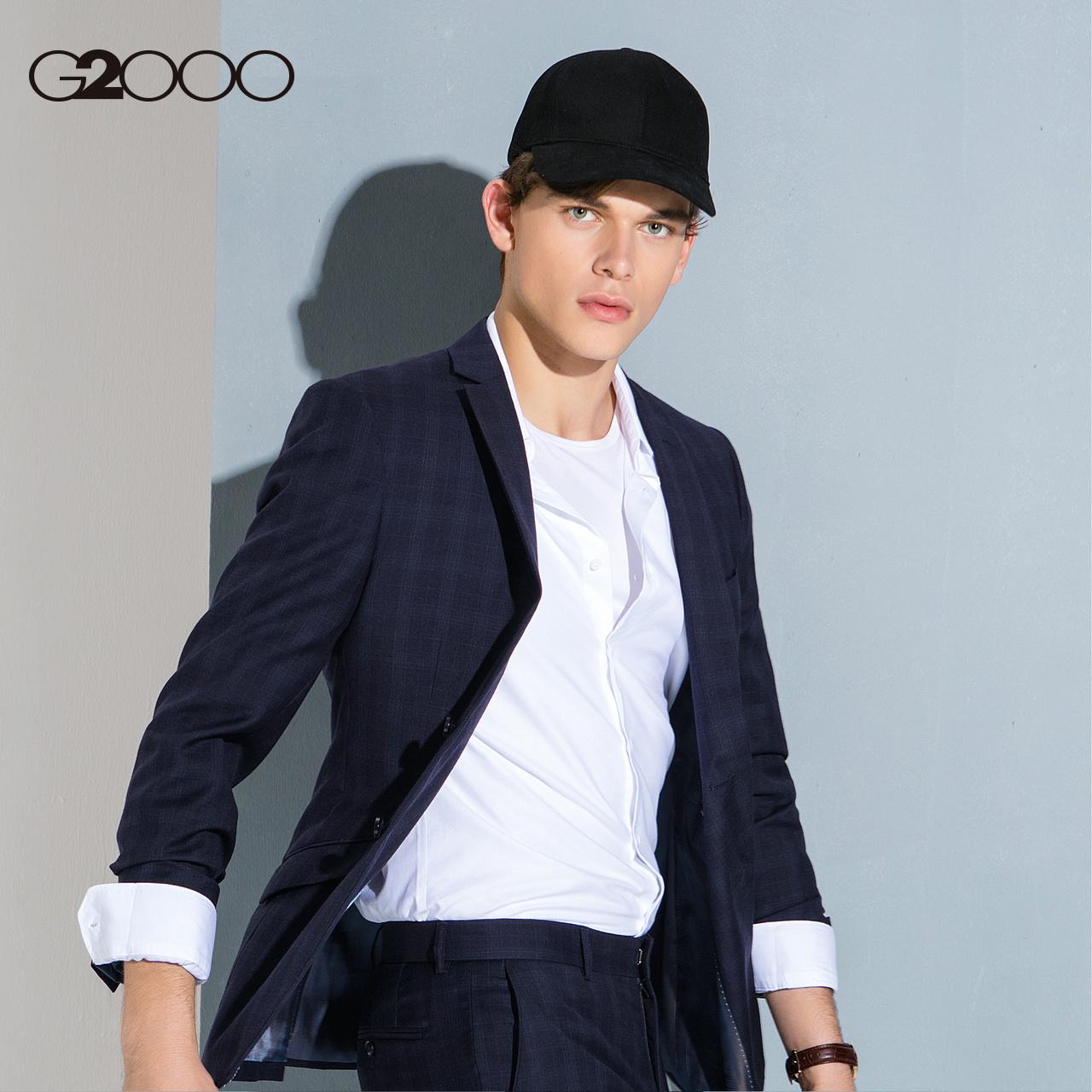 G2000男装纯羊毛舒适冰感格子西装 2018新款商务修身西服外套