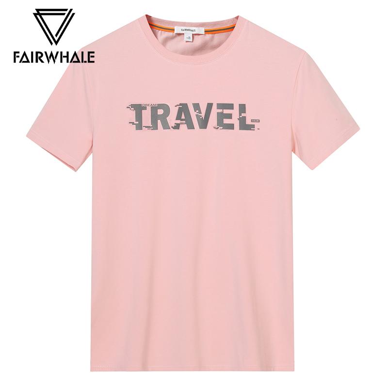 马克华菲短袖t恤男2018夏新款潮流圆领体恤字母印花粉色打底衫男