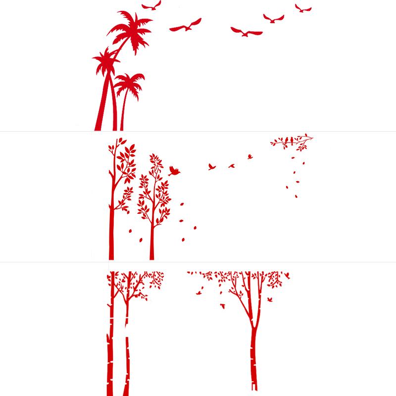 生生 硅藻泥不干胶意境树背景墙秋落叶客厅背景墙