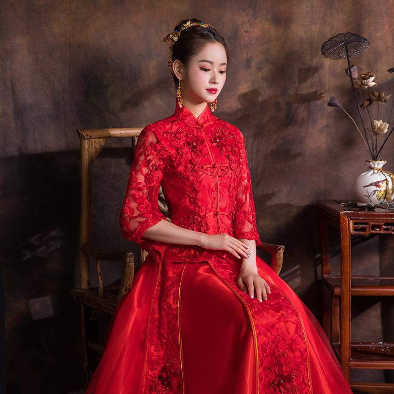 秀禾服新娘2018新款出阁服中式婚纱礼服结婚敬酒服古装嫁衣秀和服